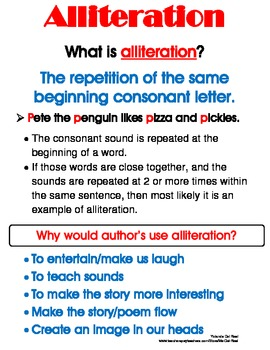 Figurative Language - Alliteration Poster