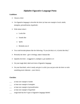 Figurative Language: Alphabet Poem Guidelines Sheet Plus Example