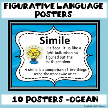 Figurative Language Anchor Charts Posters Ocean Theme