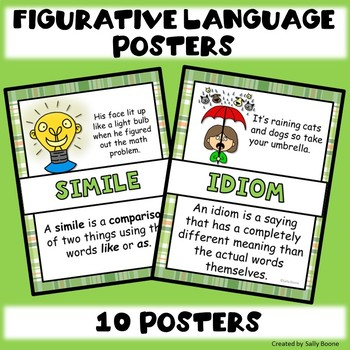 Figurative Language Anchor Charts Posters St Patrick's Day Theme