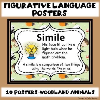 Figurative Language Anchor Charts Posters Woodland Animal Theme Theme
