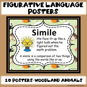 Figurative Language Anchor Charts Posters Woodland Animal