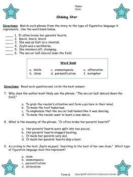 Figurative Language Stories; Differentiated Answer Formats; Based on Common Core