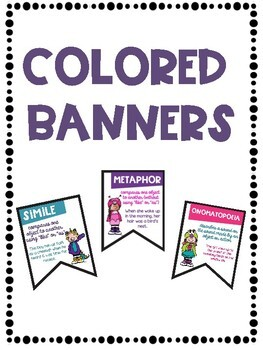 Figurative Language Banners Friendly Monster Theme ~Color and Black & White~