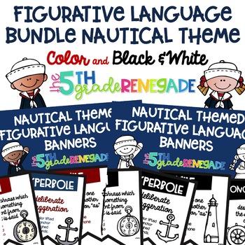 Figurative Language Banners Nautical Theme ~Color and Black & White~