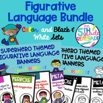 Figurative Language Banners Superhero Theme ~Color and Black & White~