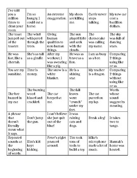 Figurative Language Bingo