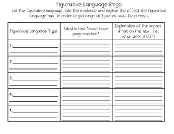 Figurative Language Bingo- Use for ANY text!