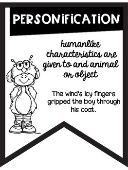Figurative Language Black & White Banners Friendly Monster Theme ~Easy Printing~