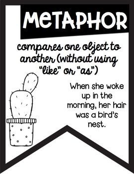 Figurative Language Black and White Banners Cactus Theme ~Easy Printing~