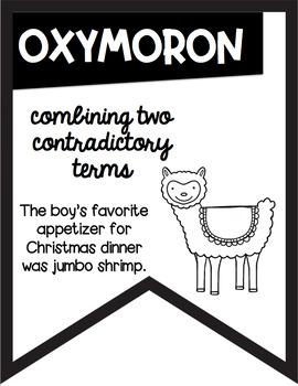 Figurative Language Black and White Banners Llama Alpaca Theme ~Easy Printing~