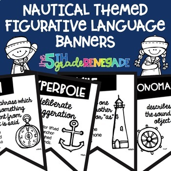 Figurative Language Black and White Banners Nautical Theme ~Easy Printing~