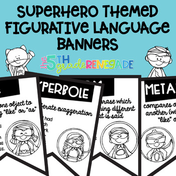 Figurative Language Black and White Banners Superhero Theme ~Easy Printing~