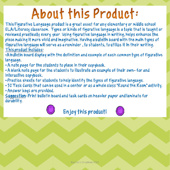 Figurative Language Bulletin Board Bundle- Task cards, notes, practice pages