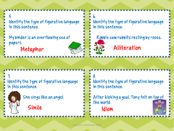 Figurative Language Bulletin Board Display- with 32 Bonus Task Cards!