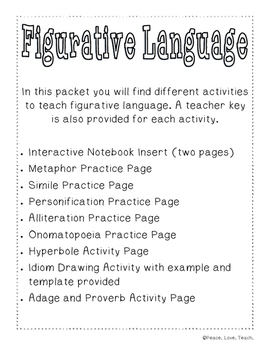 Figurative Language Bundle (Similie, Metaphor, idiom adage