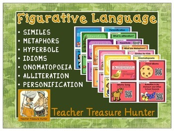 Figurative Language Bundle - QR codes - video, book - Metaphor, Simile hyperbole