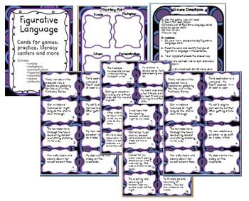Figurative Language Cards for Games,Practice, Literacy Centers, and More