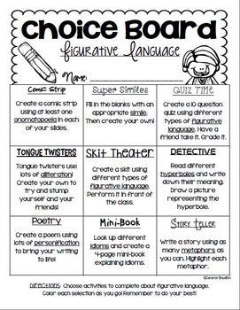 Figurative Language Choice Board (Simile, Metaphor, Alliteration, and more!)