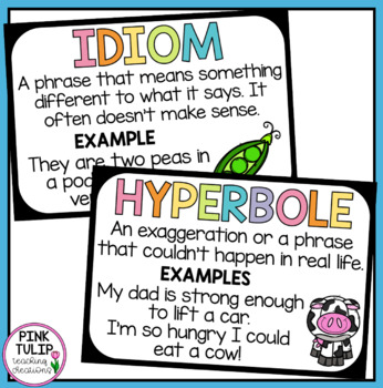 Figurative Language Classroom Poster Display By Pink Tulip Creations