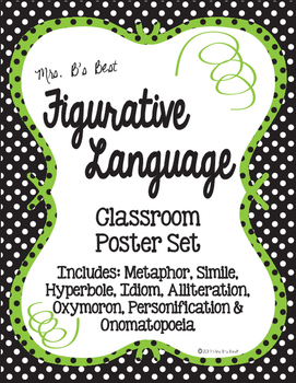 Figurative Language Classroom Posters in Black, Lime and White Polka Dots
