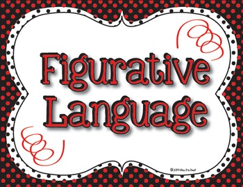 Figurative Language Classroom Posters in Black, Red and White Polka Dots