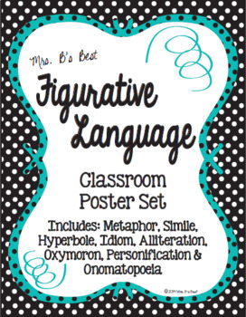 Figurative Language Classroom Posters in Black, Teal and White Polka Dots