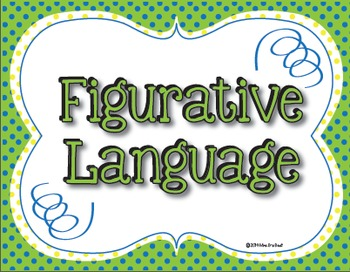 Figurative Language Classroom Posters in Lime, Blue and Lemon Polka Dots