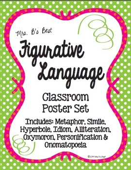 Figurative Language Classroom Posters in Lime, Pink and Tangerine Polka Dots
