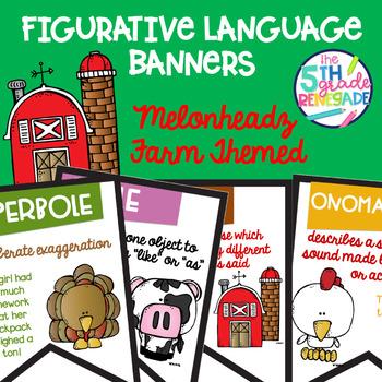 Figurative Language Color Banners Melonheadz Farm Theme