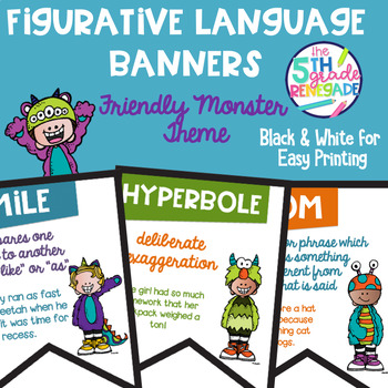 Figurative Language Color Banners Friendly Monster Theme