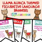Figurative Language Color Banners Llama Alpaca Theme