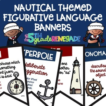 Figurative Language Color Banners Nautical Theme- 8 Banners
