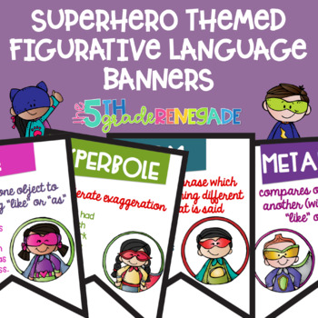 Figurative Language Color Banners Superhero Theme