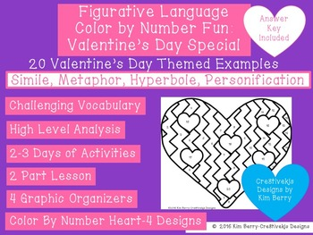 Figurative Language Color By Number Fun:  Valentine's Day Special!