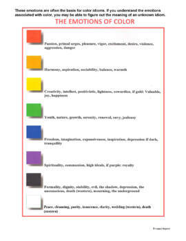 Color Idioms Matching Worksheets