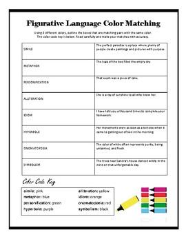 Figurative Language Color Matching Mini Lesson Sheet