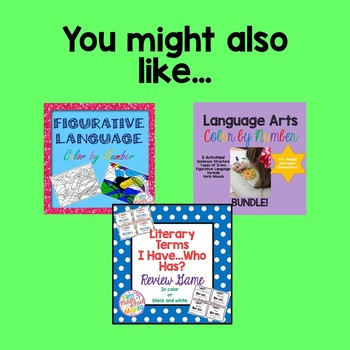 Figurative Language Color by Number Butterfly End of the Year Activity