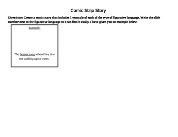 Figurative Language Comic Strip Template