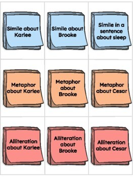 Figurative Language Concentration Game (simile, metaphor, alliteration, onomat)