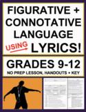 Figurative Language, Connotation + Tone with Lyrics: No Prep Music as Poetry