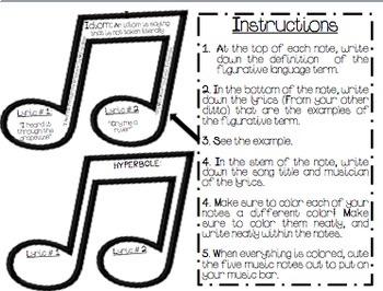 Figurative Language {Craftivity}-Identifying Figurative Language in Songs