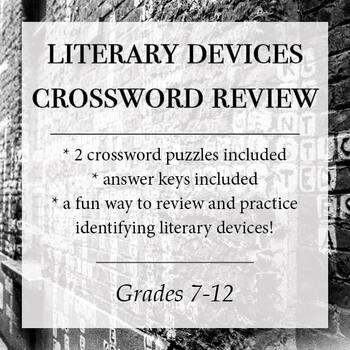 Figurative Language Crossword Teaching Resources Teachers Pay Teachers
