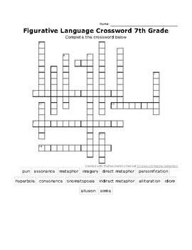 Figurative Language Crossword Puzzle 2