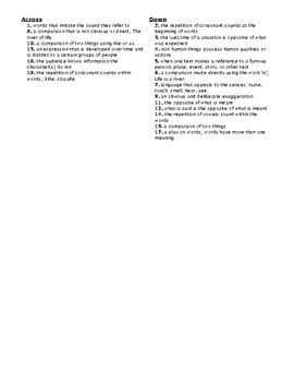 Figurative Language Crossword Puzzle 3