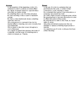 Figurative Language Crossword Puzzle-Literary Devices