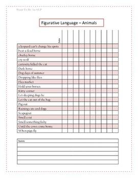 Figurative Language Data Sheet - Animals