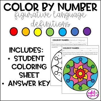 Figurative Language Definitions Color by Number