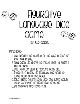 Figurative Language Dice Game