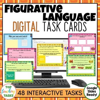 Figurative Language Digital Task Cards Paperless Google Drive® Resource
